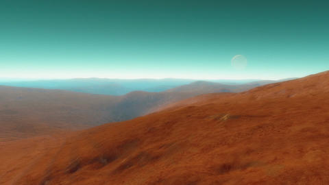 A fly-through animation showing a rocky deserted exoplanet with a natural satell Animation