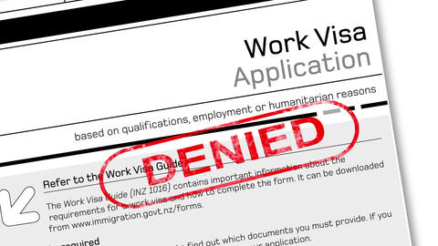 work visa application document for temporary stay with Denied stamp Animation