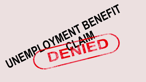 Unemployment Benefit Claim Denied Stamp Showing Social Security Welfare Refused Animation