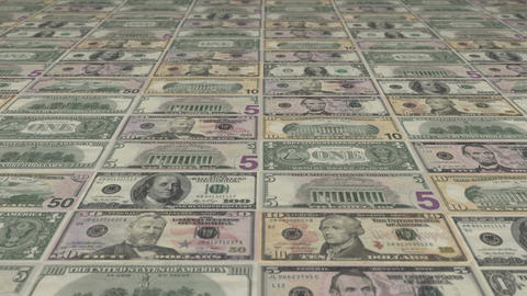 Animated background showing a large set of US Dollar banknotes sliding by Animation