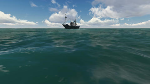 landscape sea with ship in the Sea made in 3d software Animation