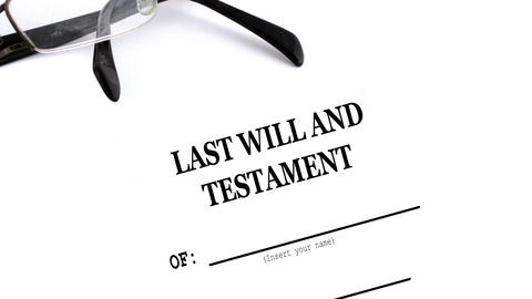 glasses with last will and testament on table Animation