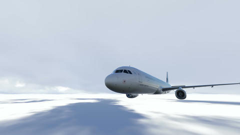 airplane flying over clouds Animation