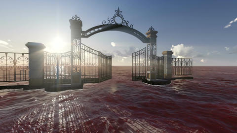 Gate to heaven made in 3d software Stock Video Footage