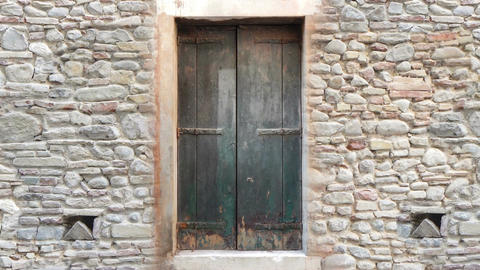 old wooden door opening to green screen. High definition…, Stock Animation