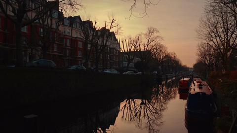 Ultra slow panning shot of the picture-perfect Little Venice area in London, Eng Footage