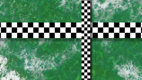 Refraction of sunlight in lake water with two moving checkered plane Animation