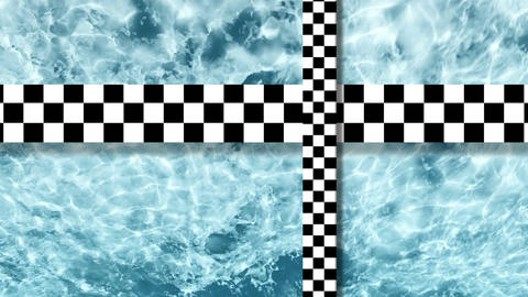 3d animation - Refraction of sunlight in lake water with two moving checkered pl Animation