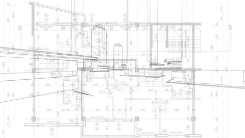 abstract architecture background: blueprint house plan Stock Video Footage