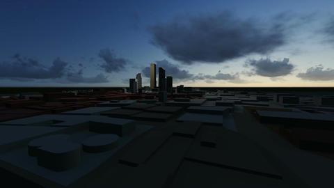 flight over 3d city Animation