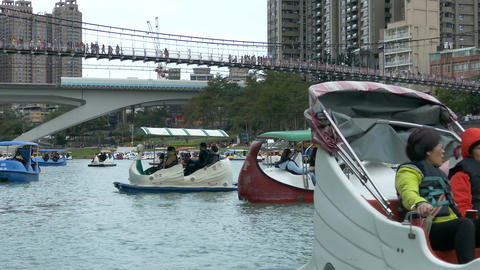 People enjoying Pedalboats on lake in Bitan New Taipei Cit 06 Footage