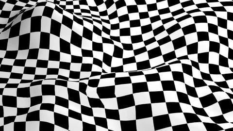 Motion background with optical illusion (wave made from checkered graphic) Animation