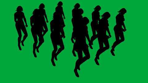Group Marching Women - separated on green screen Animation