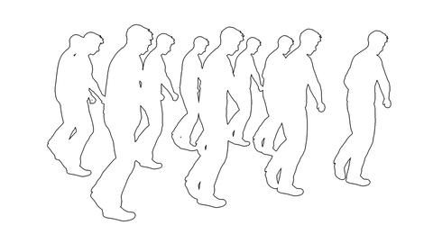 many businessman marching - separated on white screen Animation