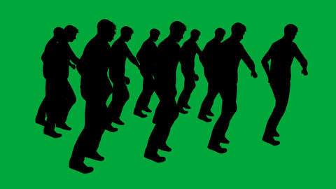 many businessman marching - separated on green screen Animation