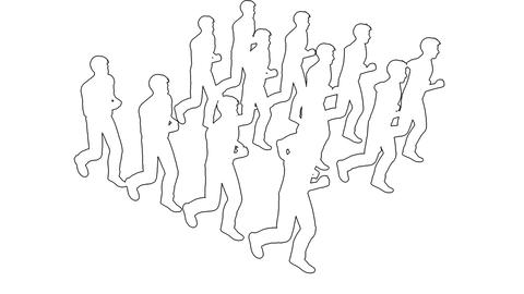 Silhouettes of people running - separated on white screen Animation