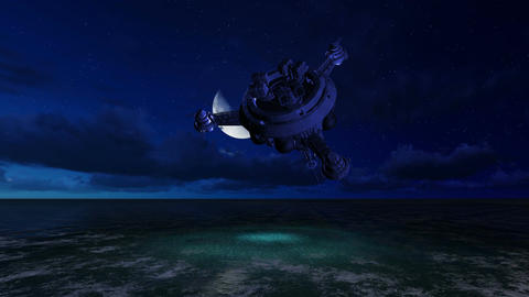 UFO is flying over the ocean Animation