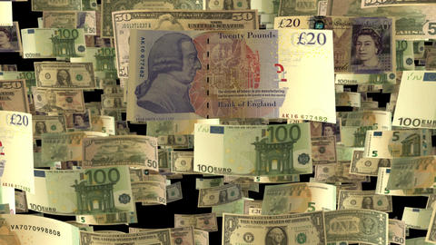 Background animation with falling Euro, British Pound and US Dollar banknotes in Animation