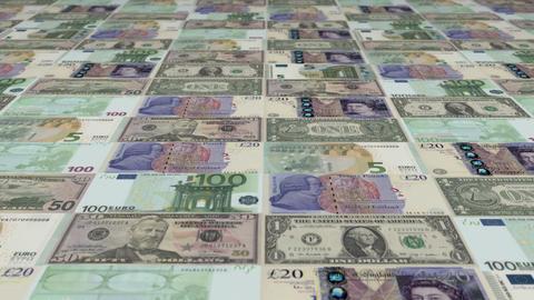 Animated background showing a large set of Euro, British Pound and US Dollar ban Animation