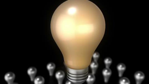 Brilliant idea - A 3D animation showing a set of flickering light bulbs with a l Animation