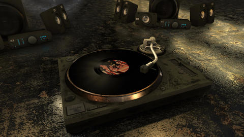 Retro and grungy CG animation featuring various vinyl records coming in and out Animation