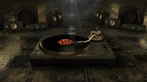 Cool CG retro animation featuring a vinyl record spinning on a turntable with sp Animation