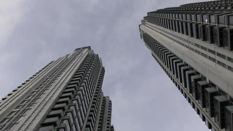 Two skyscrapers under the blue sky Footage