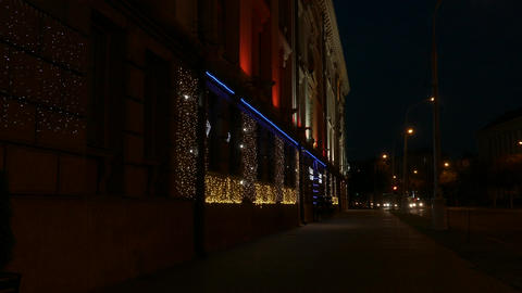 4K Ungraded: Festive Lights on Wall of Casino in Old Building of European Footage