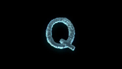 The Letter Q Of Ice Isolated On Black With Alpha Matte Animation