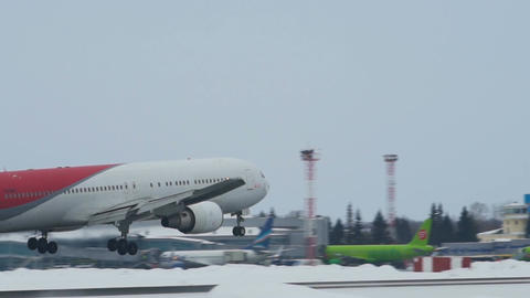 Nordwind Airlines Boeing 767-300 approaching at Tolmachevo Airport in Novosibirs Footage