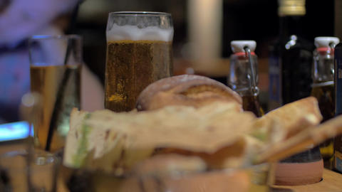 Beer and bread in cafe ビデオ