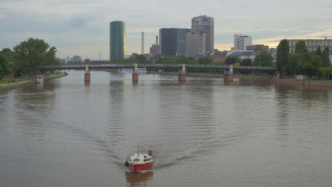 Frankfurt cityscape with the Main river, Germany Live Action
