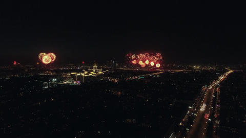 Festive fireworks in night Moscow on Victory Day Footage