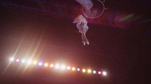 Aerial performance of woman gymnast in the circus Footage