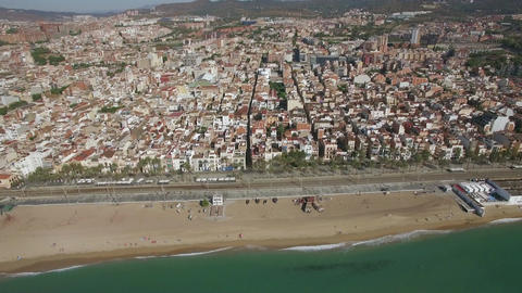 Aerial panorama of Barcelona with coast, Spain Footage