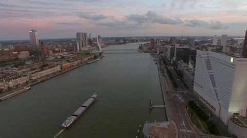 Rotterdam cityscape with Erasmus Bridge, aerial Footage