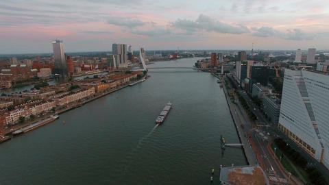 Aerial city view of Rotterdam with river Footage