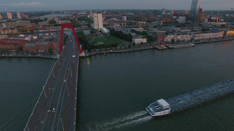 Aerial waterside view of Rotterdam with Willem Bridge Footage