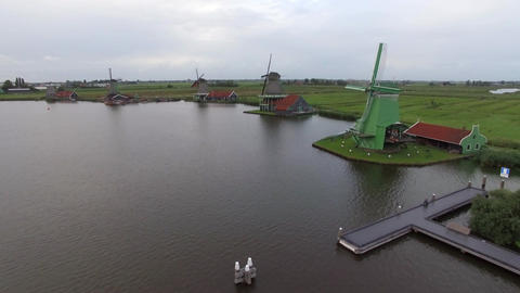 Aerial rural scene with windmills in Netherlands Footage