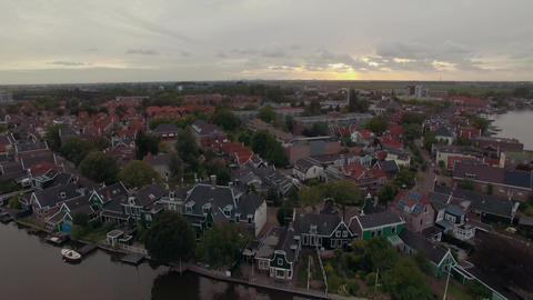 Waterside township in Netherlands, aerial view 画像