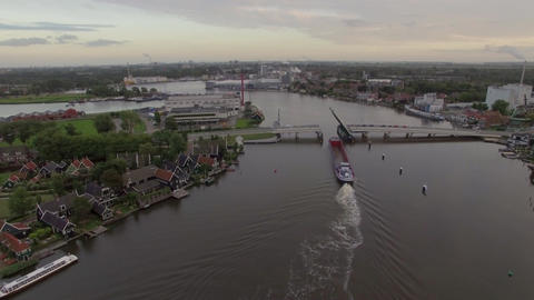 Ship sailing through drawbridge, aerial view Footage