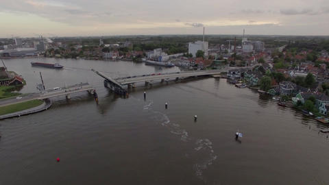 Aerial view of river with drawbridge and ship, Netherlands Footage