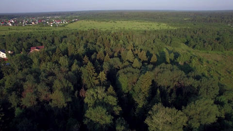 Aerial countryside scene in Russia Live Action
