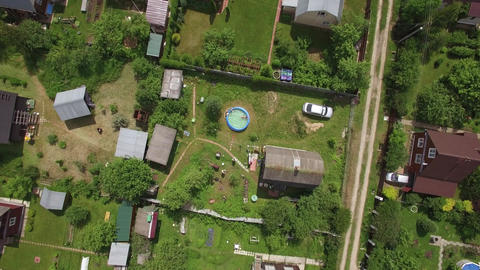 Aerial shot of dacha community in Russia Footage