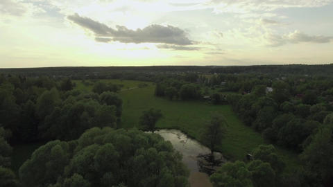 In the countryside at sunset, aerial view Footage