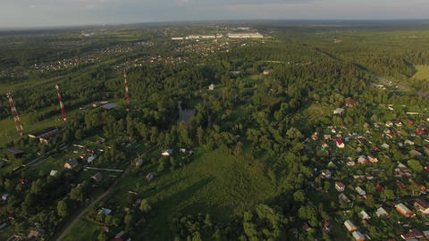 Flying over dacha communities in Russia Live Action