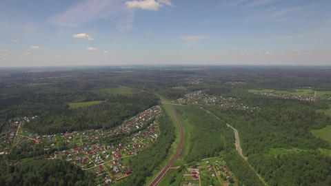 Aerial shot of summer houses in the woods, Russia Live Action