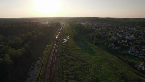 Aerial view of freight train in the country, Russia Live Action