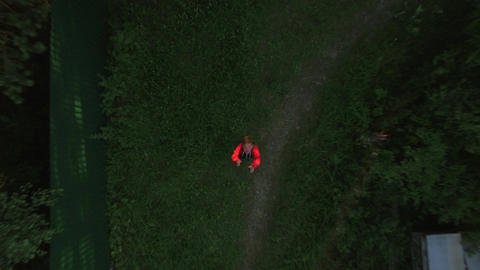 Child catching descending drone Image