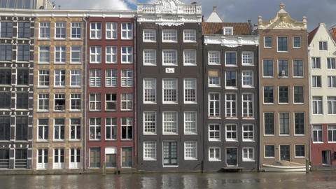 Dutch houses on waterside, Amsterdam Footage